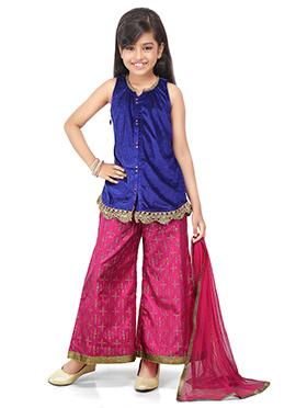 Blue N Pink Kids Palazzo Suit