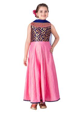 Navy Blue N Pink Teens Anarkali Suit