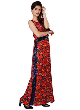 Navy Blue N Red Chiffon Gown