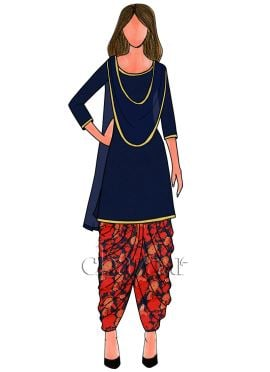 Navy Blue N Red Digital Printed Chinon Chiffon Patiala Suit