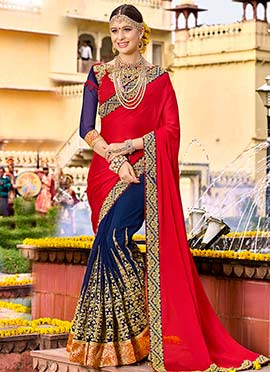 Navy Blue N Red Half N Half Saree