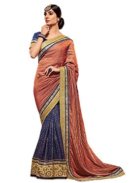 Navy Blue N Rust Half N Half Saree