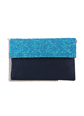 Navy Blue N Turquoise Suede Clutch