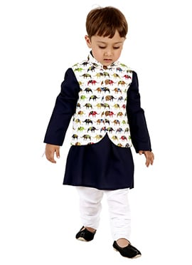 Navy Blue N White Cotton Kids Bandi Set