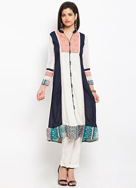 Navy Blue N White Cotton Kurti