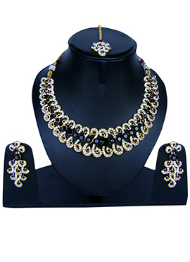 Navy Blue N White Zircon Stone Necklace Set