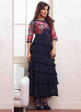 Navy Blue Neha Sharma Anarkali Suit
