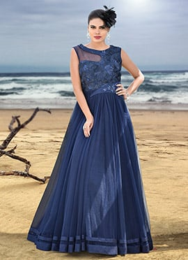 Navy Blue Net Anarkali Gown