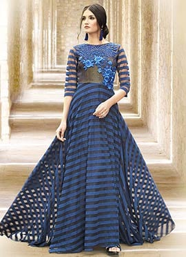 Navy Blue Net Embroidered Flared Gown