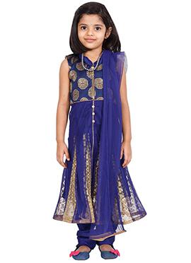 Navy Blue Net Kids Anarkali Suit