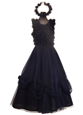 Fayon Navy blue Net Kids Gown