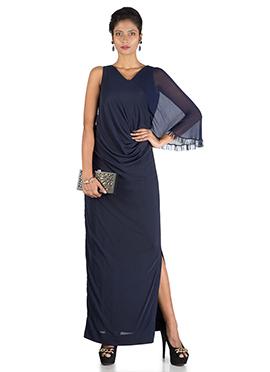 Navy Blue One Side Cape Long Drape Dress