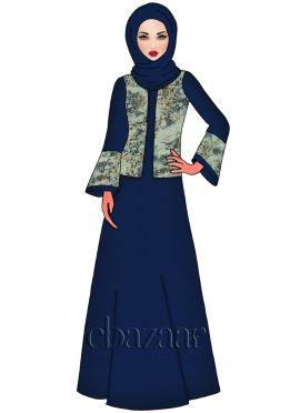 Navy Blue Opal Faux Georgette Abaya