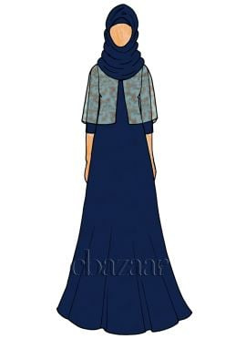 Navy Blue Opal Georgette Abaya
