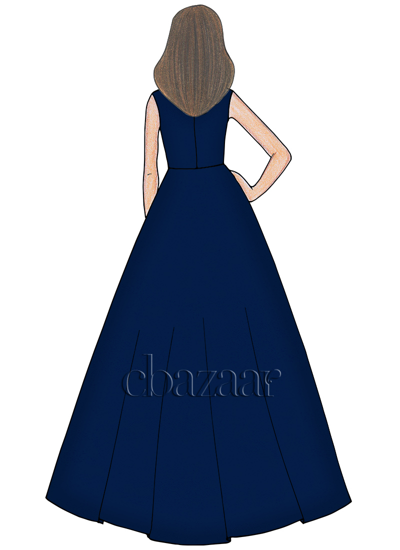 Buy Navy Blue Opal Taffeta Ball Gown, Party, dresses and gown Online ...