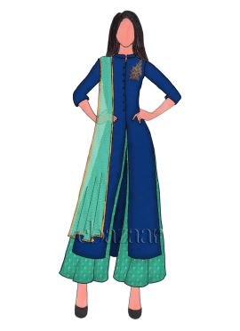 Navy Blue Opal Taffeta Embroidered Palazzo Suit