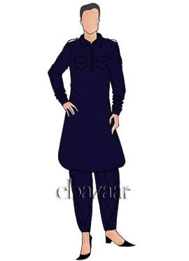Navy Blue Plain Pathani Set