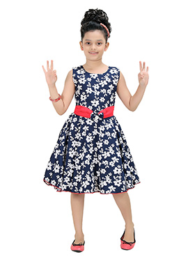 Navy Blue Polyester Kids Gown