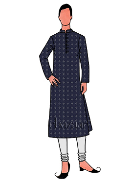 Navy Blue Printed Cotton Linen Kurta Pyjama