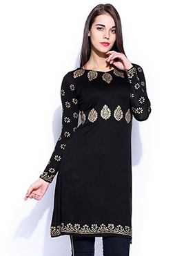 Navy Blue Printed Short Kurti