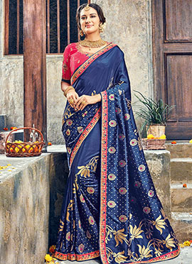 Navy Blue Pure Benarasi Silk Saree