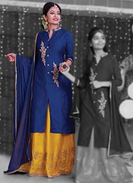 Navy Blue Pure Chanderi Silk Long Choli A Line Lehenga