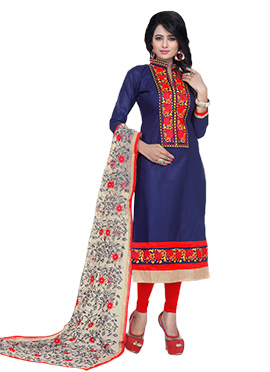 Navy Blue Pure Cotton Churidar Suit