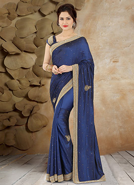 Navy Blue Pure Handloom Silk Saree