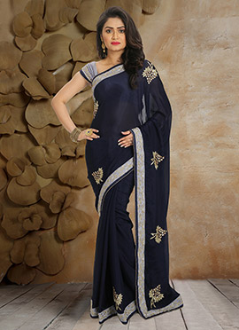 Navy Blue Pure Crepe Saree