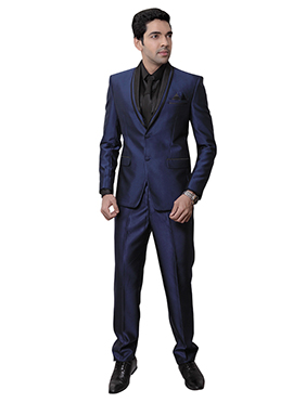 Blue Rayon Lapel Suit
