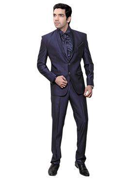 Navy Blue Rayon Lapel Suit
