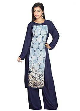 Navy Blue Rayon N Jute Palazzo Suit