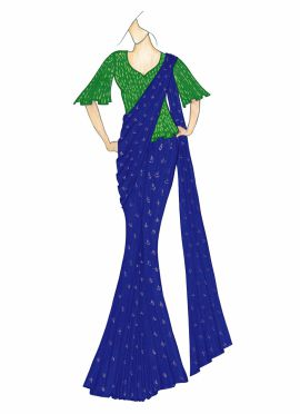 Navy Blue Saree with a Parrot Green Blouse