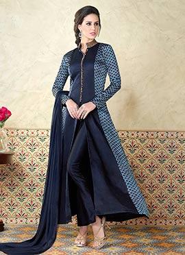 Navy Blue Satin Anarkali Suit