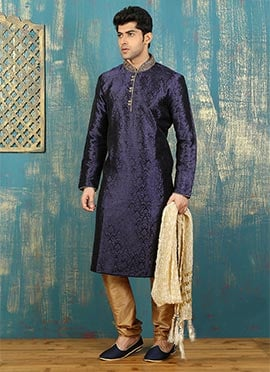 Navy Blue Satin Brocade Kurta Pyjama