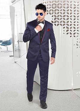 Navy Blue Satin Lapel Style Suit