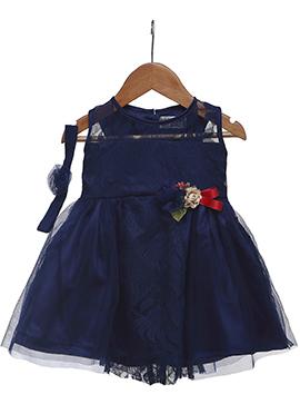 Navy Blue Satin Net Kids Dress