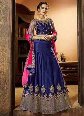 Navy Blue Satin Silk A Line Lehenga