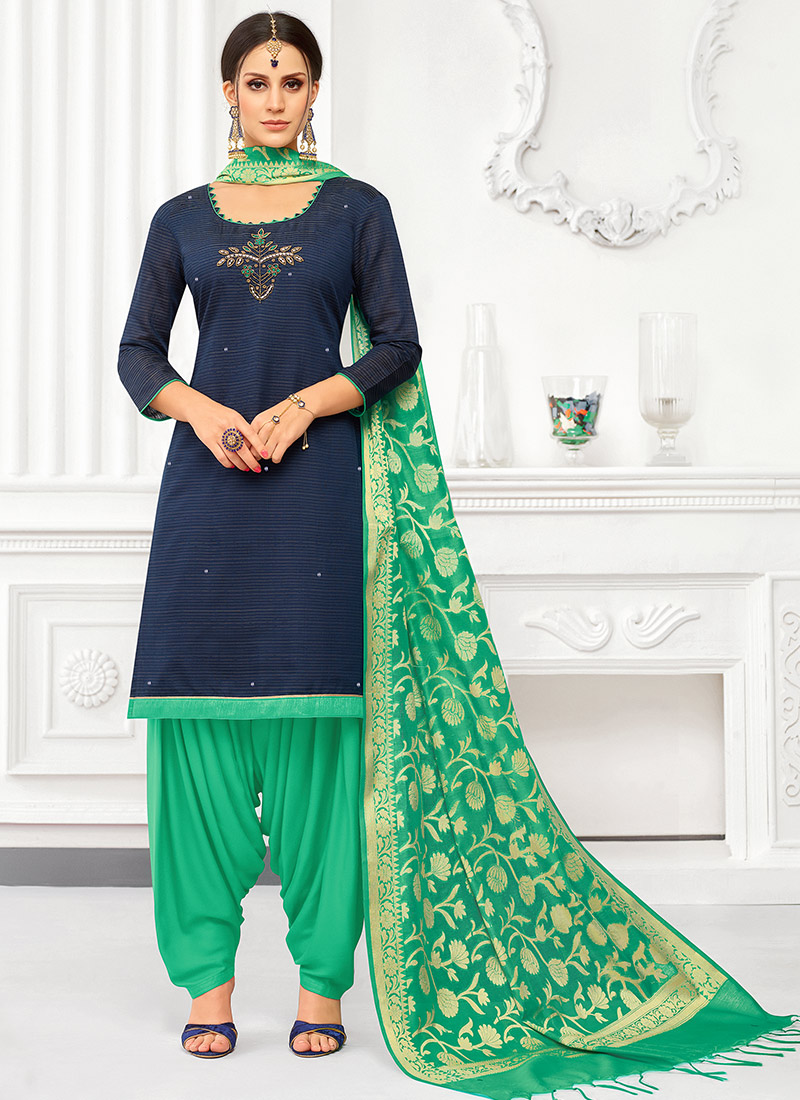 6fb58e6465 Buy Navy Blue Sequins Embroidered Churidar Suit, Sequins ...