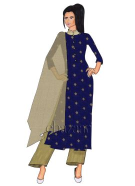 Navy Blue Silk Palazzo Suit