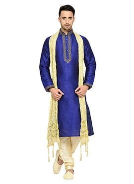 Navy Blue Solid Patterned Art Dupion Silk Kurta Py