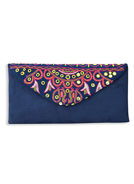 Navy Blue Suede Embroidered Clutch