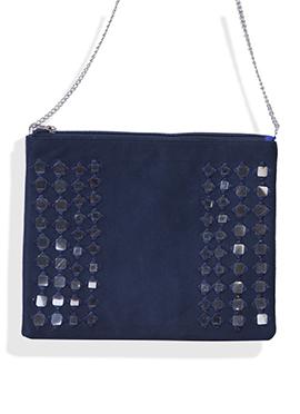 Navy Blue Suede Mirror Worked Sling Bag