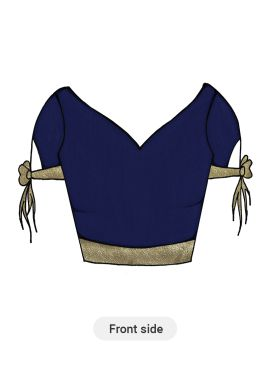 Navy Blue Taffeta and Beige Shimmer Georgette Blouse