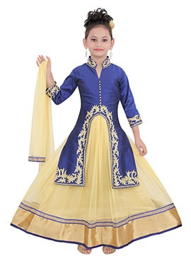 Navy Blue Taffeta Kids Long Choli Lehenga