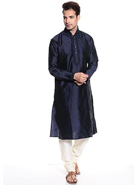 Navy Blue Taffeta Kurta Pyjama