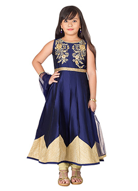 Navy blue Taffeta Teens Anarkali Suit