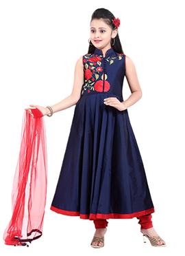 Navy blue Taffeta Teens Anarkali Suit