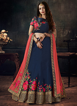 Navy Blue Taffeta Umbrella Lehenga