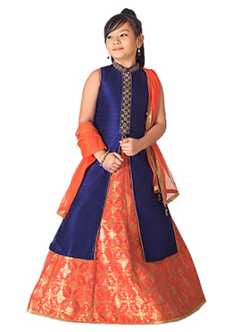 Navy Blue Teens Long Choli A Line Lehenga